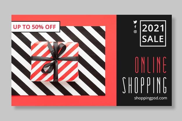 Plantilla de banner de compras y ventas en línea vector gratuito