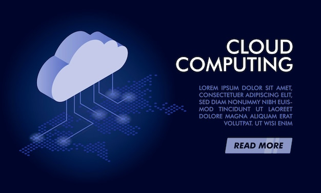 Plantilla de banner de computación en la nube.