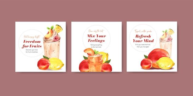 Plantilla de banner con concepto de batidos de frutas