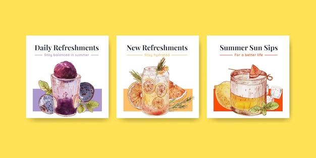 Plantilla de banner con concepto de bebidas refrescantes, estilo acuarela