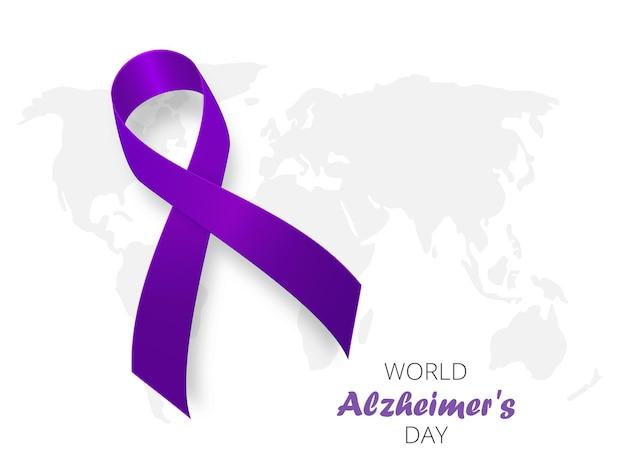 Plantilla de banner de concepto de día mundial de la enfermedad de alzheimer con cinta púrpura y texto ilustración vectorial
