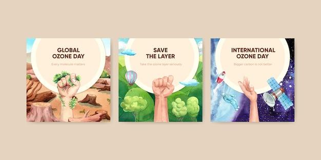 Plantilla de banner con concepto del día mundial del ozono, estilo acuarela