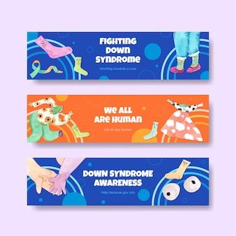 Plantilla de banner con concepto del día mundial del síndrome de down, estilo acuarela