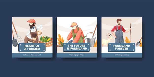 Plantilla de banner con concepto del día nacional del agricultor, estilo acuarela