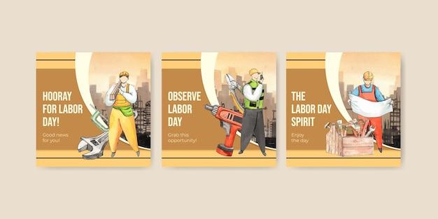 Plantilla de banner con concepto de día del trabajo, estilo acuarela