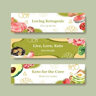Plantilla de banner con concepto de dieta cetogénica para publicidad y marketing ilustración acuarela.