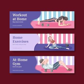Plantilla de banner con concepto de ejercicio en casa, estilo acuarela