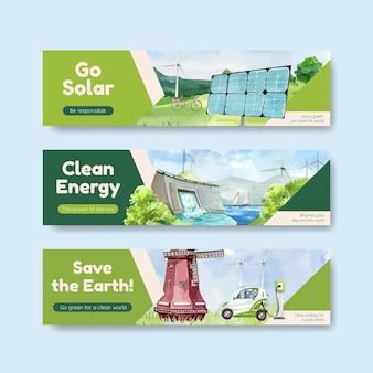 Plantilla de banner con concepto de energía verde en estilo acuarela