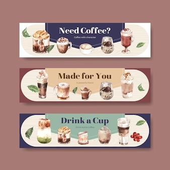 Plantilla de banner con concepto de estilo de café coreano para publicidad y marketing de acuarela