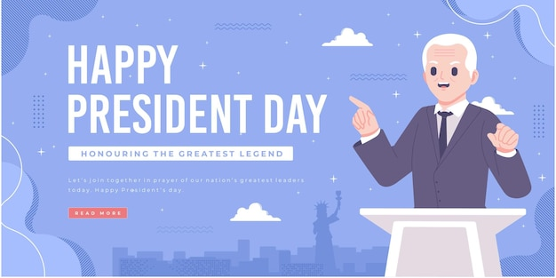 Plantilla de banner de concepto de feliz día del presidente