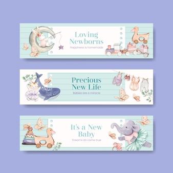 Plantilla de banner con concepto de hola bebé