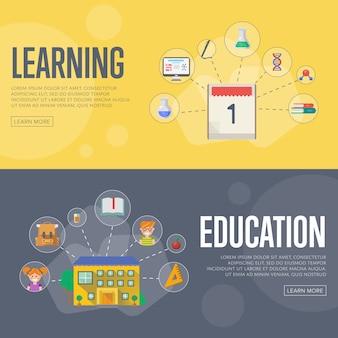 Plantilla de banner de concepto de infografías de educación