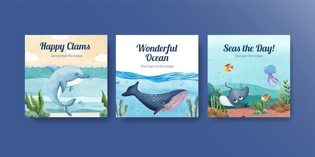 Plantilla de banner con concepto de océano encantado estilo acuarela