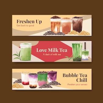 Plantilla de banner con concepto de té de leche de burbujas