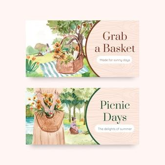 Plantilla de banner con concepto de viaje de picnic