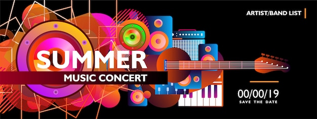 Plantilla de banner de concierto de música de verano con forma colorida sobre fondo negro
