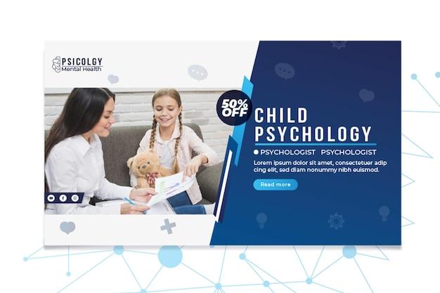 Plantilla de banner de consulta de psicología de salud mental