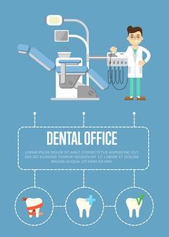 Plantilla de banner de consultorio dental con dentista y sillón dental