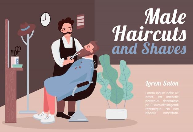 Plantilla de banner de cortes de pelo y afeitados masculinos. folleto, concepto de cartel con personajes de dibujos animados. hombre estilista corta y recorta el volante horizontal de la barba, folleto con lugar para texto