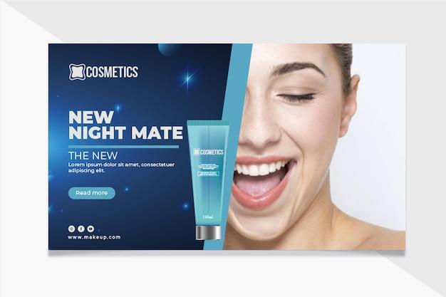 Plantilla de banner de cosmética facial de belleza