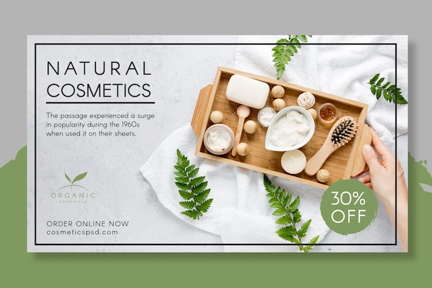 Plantilla de banner de cosmética natural
