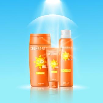Plantilla de banner para cosmética protectora solar realista