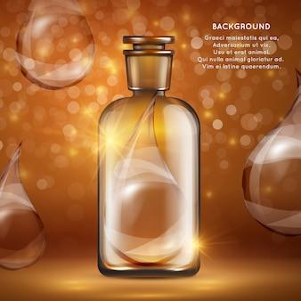 Plantilla de banner de cosméticos de aceite orgánico botella realista y gotas de aceite
