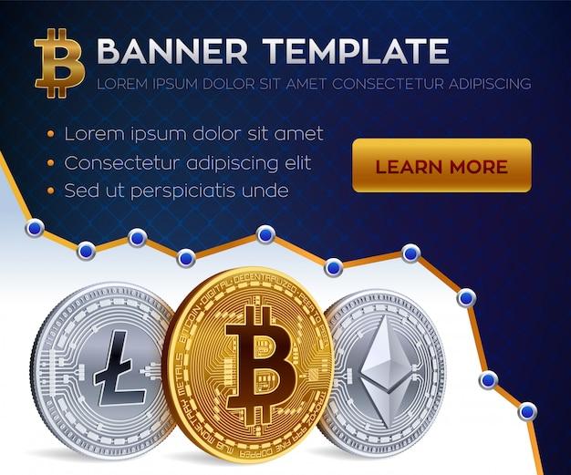 Plantilla de banner de criptomoneda. bitcoin, ethereum, litecoin monedas de oro.
