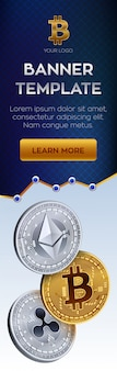 Plantilla de banner de criptomoneda. bitcoin, ethereum, ripple monedas de oro.