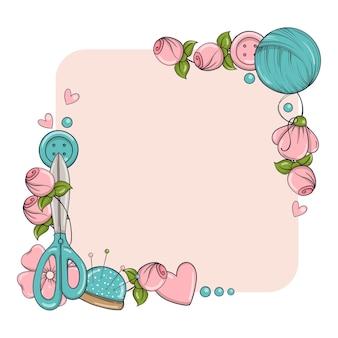 Plantilla de banner cuadrado para hacer a mano, tejer, coser. marco con atributos de costura y tejido en estilo doodle.