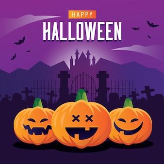 Plantilla de banner cuadrado de halloween con castilla como fondo