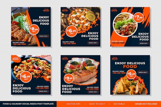 Plantilla de banner cuadrado o folleto con comida y tema culinario para restaurantes