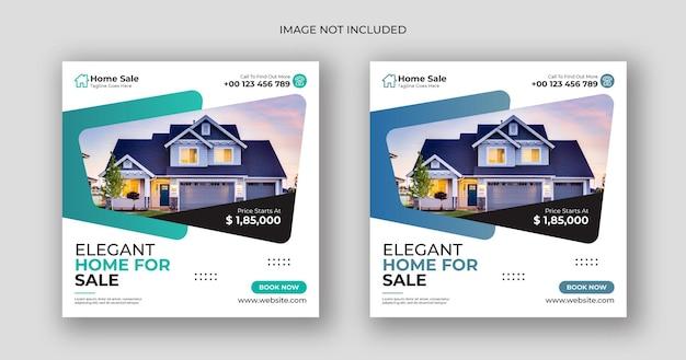 Plantilla de banner cuadrado de publicación de redes sociales de venta de casas
