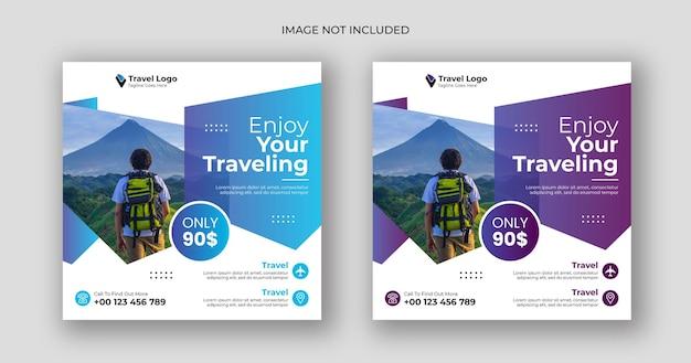 Plantilla de banner cuadrado de publicación de redes sociales de viajes