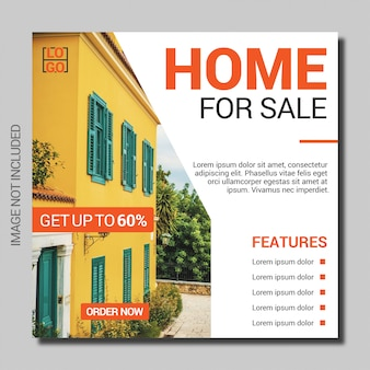 Plantilla de banner cuadrado de venta de bienes raíces