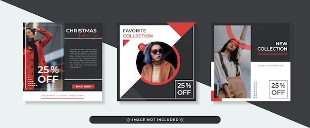 Plantilla de banner cuadrado de venta de moda con diseño negro y rojo, diseño de estilo moderno y elegante.