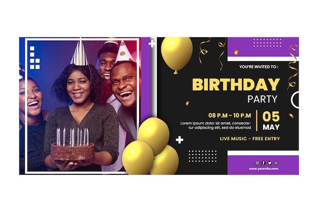 Plantilla de banner de cumpleaños con globos