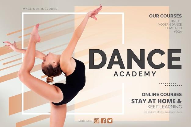 Plantilla de banner de cursos de baile en línea