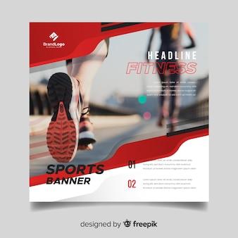 Plantilla banner deporte con foto