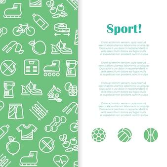 Plantilla de banner de deportes y fitness con iconos de línea