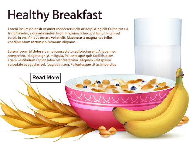 Plantilla de banner de desayuno con cereales, frutas realistas
