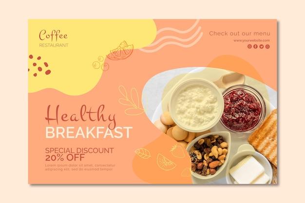 Plantilla de banner de desayuno saludable