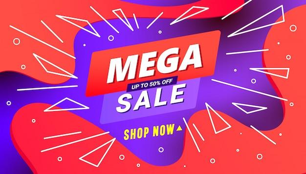 Plantilla de banner de descuento mega venta creativa con forma líquida de onda, formas de línea sobre fondo rojo degradado lila.