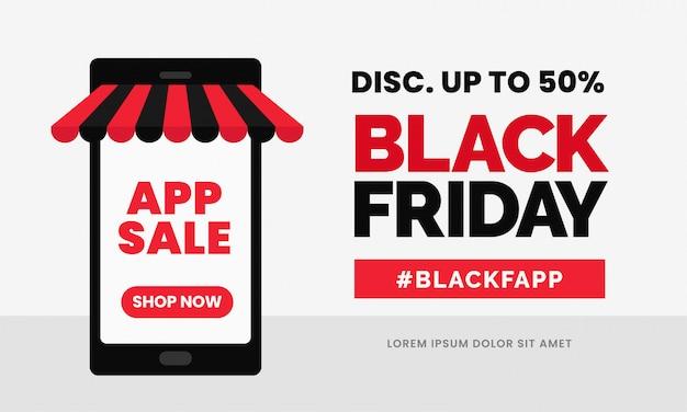 Plantilla de banner de descuento de venta de aplicaciones de viernes negro