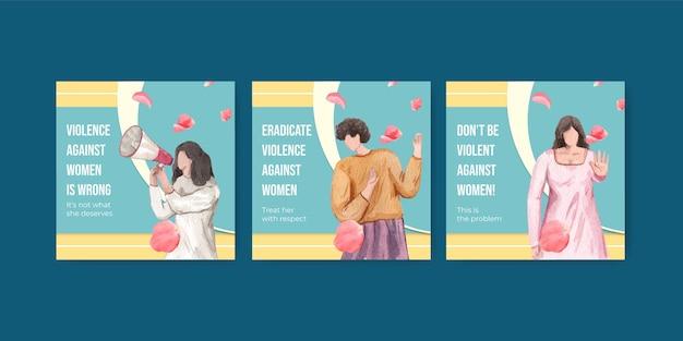 Plantilla de banner con detener la violencia contra las mujeres en estilo acuarela