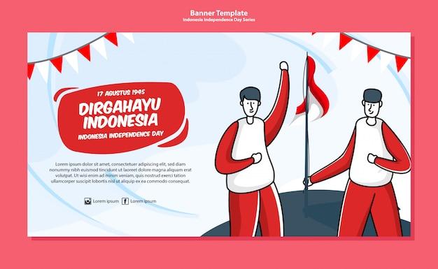 Plantilla de banner del día de la independencia de indonesia