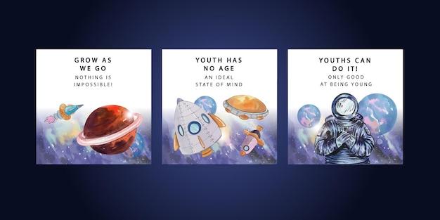 Plantilla de banner con el día internacional de la juventud en estilo acuarela