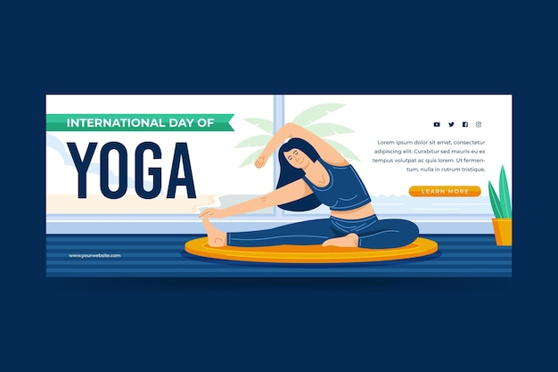 Plantilla de banner de día internacional de yoga plano orgánico
