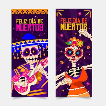 Plantilla de banner de día de muertos con calaveras felices