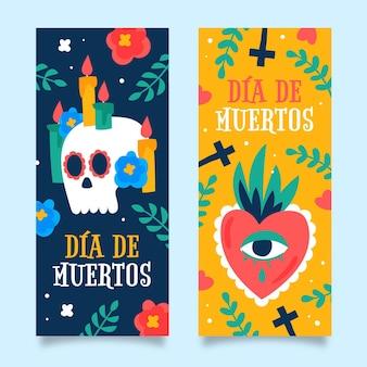 Plantilla de banner de día de muertos dibujado a mano